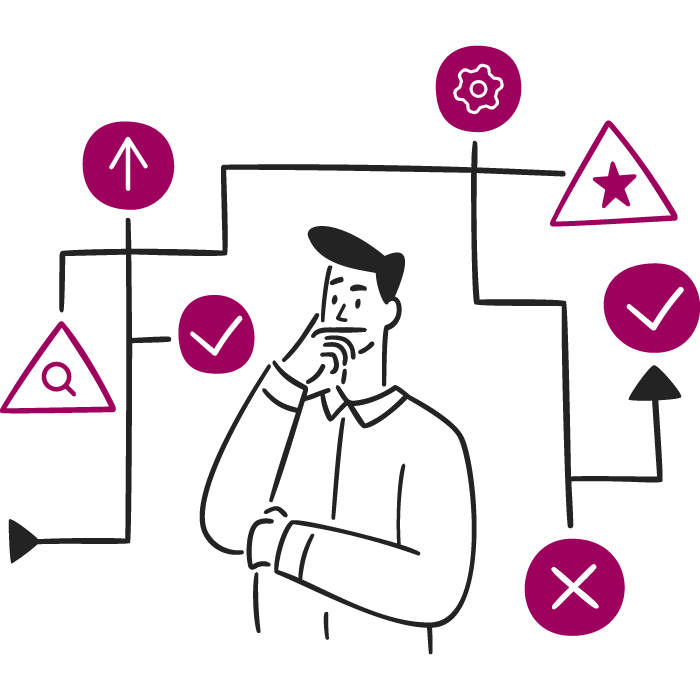 An illustration of a male making a decision.